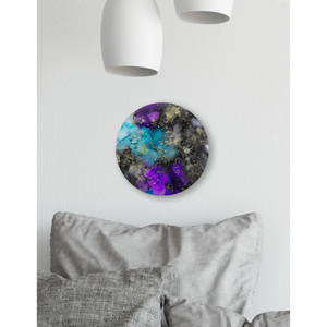 "Across the Universe Alcohol Ink Painting on Canvas Wall Art | 12"" Round"