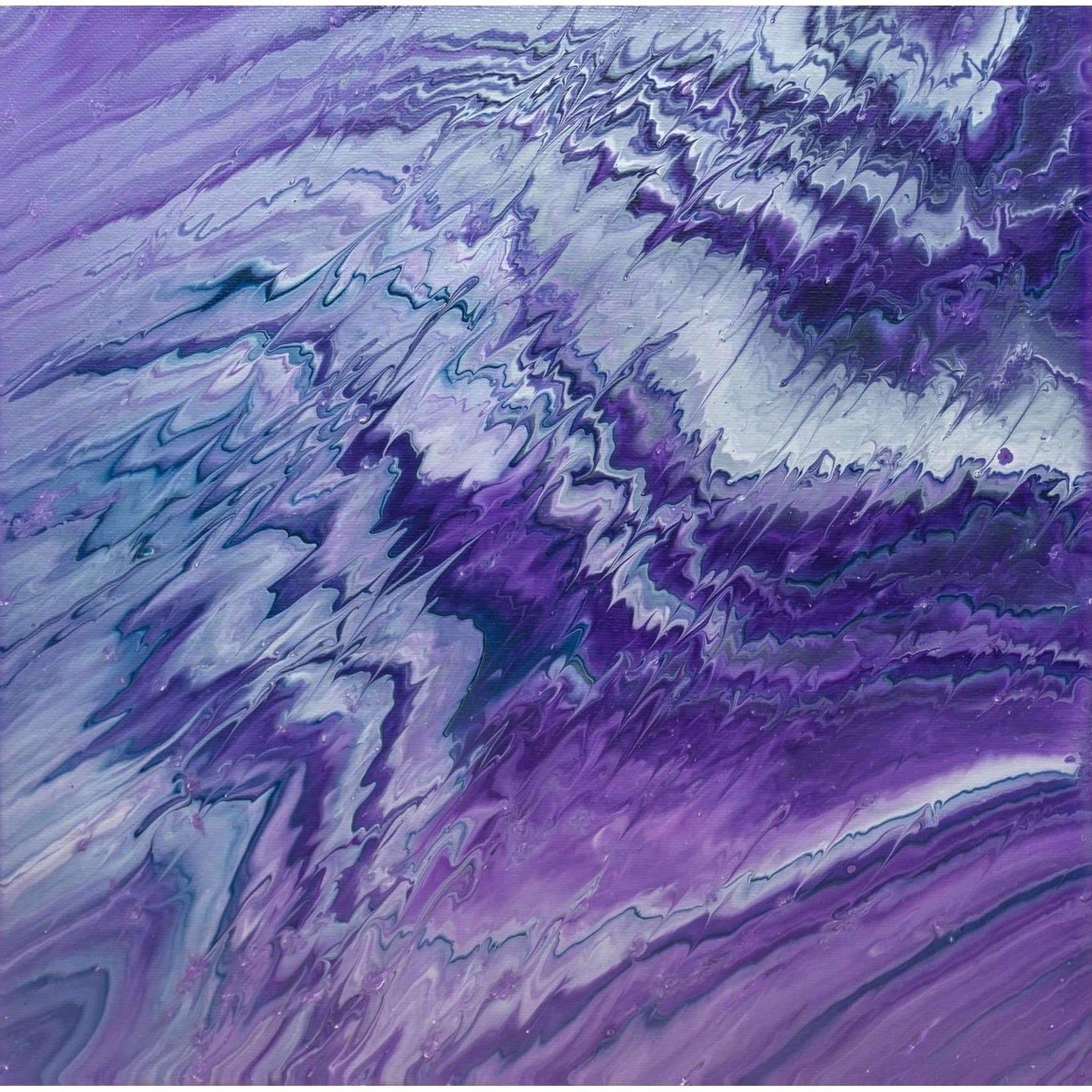 Acrylic Pour Painting Wall Art | Ziggy Purple Hues