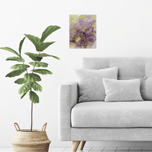Alcohol Ink on Canvas Wall Art | Aubergine Gold Canvas