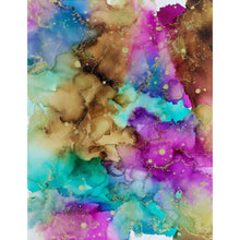 Alcohol Ink on Canvas Wall Art | Mermaid Teakwood Gold