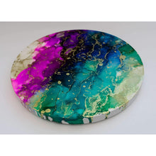 "Alcohol Ink Painting on Canvas Wall Art | 12"" Round Canvas"
