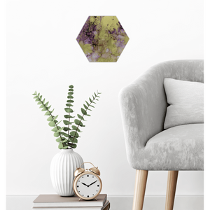 "Alcohol Ink Painting on Canvas Wall Art | Aubergine 10"" Hexagon Canvas"