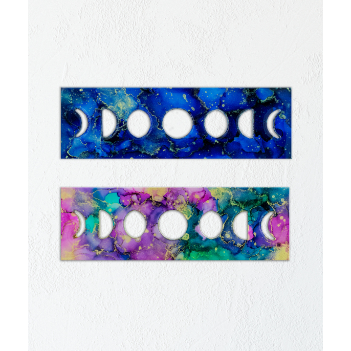 Alcohol Ink Painting Set Under Resin | Moon Phases 6x12