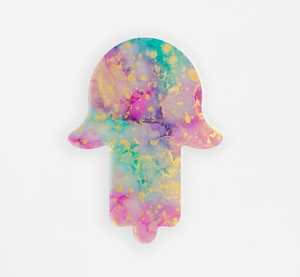 "Alcohol Ink Painting Set Under Resin | ""Pastel"" Hamsa Hand 10"""