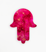 "Alcohol Ink Painting Set Under Resin | ""Peony"" Hamsa Hand 10"""