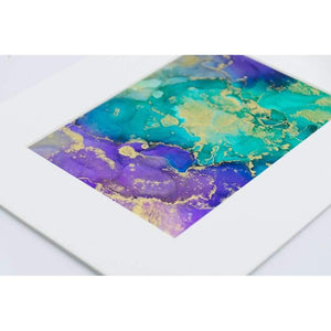 Alcohol Ink Wall Art on Yupo Paper Purple Teal Gold