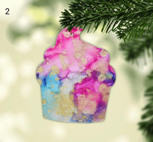 Cupcake Alcohol Ink Christmas Ornament