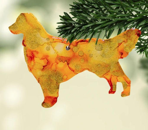 Dog Breeds Alcohol Ink Christmas Ornament