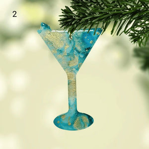 Martini Alcohol Ink Christmas Ornament