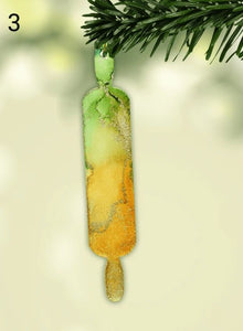 Rolling Pin Alcohol Ink Christmas Ornament