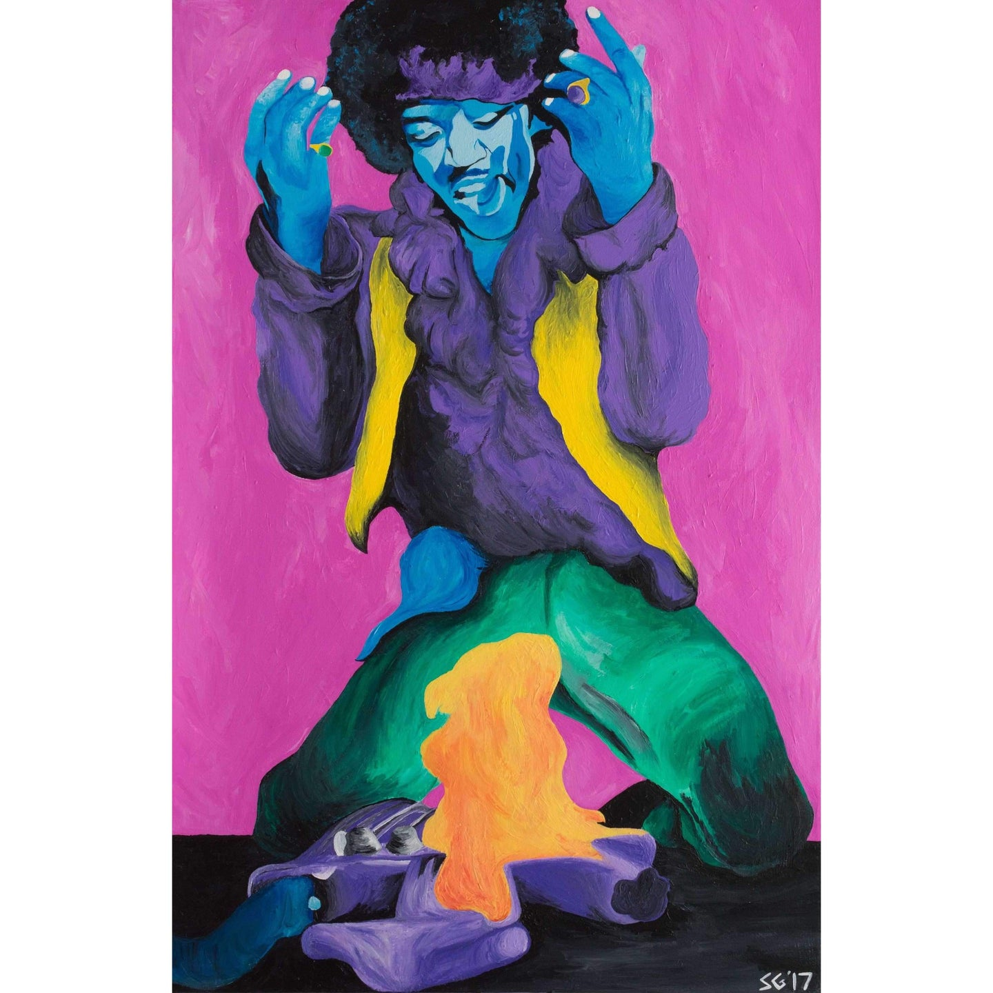 Jimi Hendrix Guitar Fire Canvas Painting Wall Art