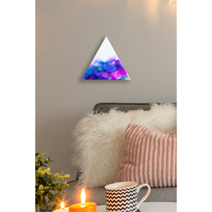 "Royal Blue Alcohol Ink Painting on Canvas Wall Art | 12"" Triangle"