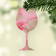 Wine Glass Alcohol Ink Christmas Ornament