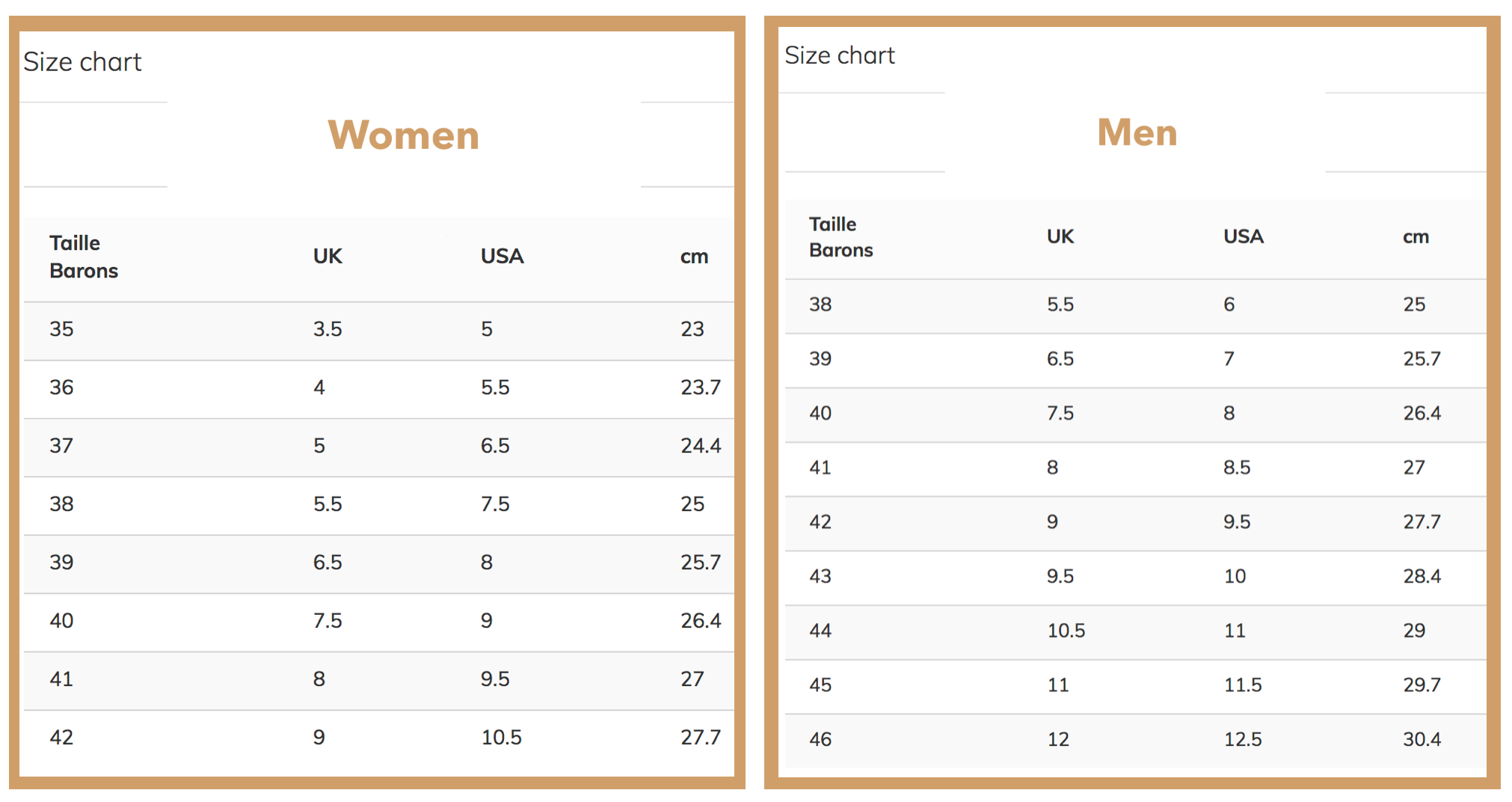 Size chart shoes - My Parisiennes - French online brands