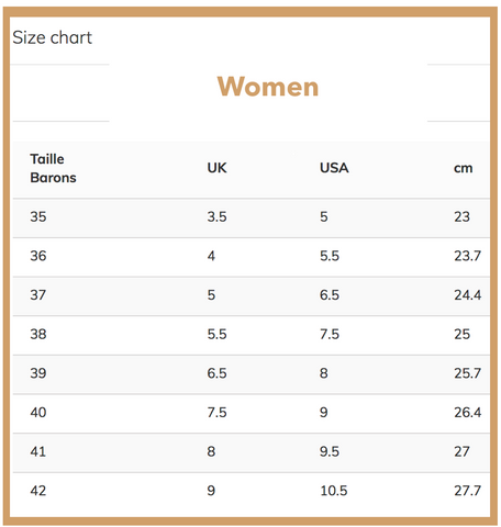 Size chart women shoes - My Parisiennes