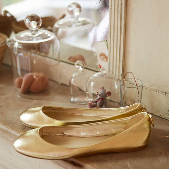 Shoes collection gold ballerinas - Ines de la Fressange - My Parisiennes - Online store