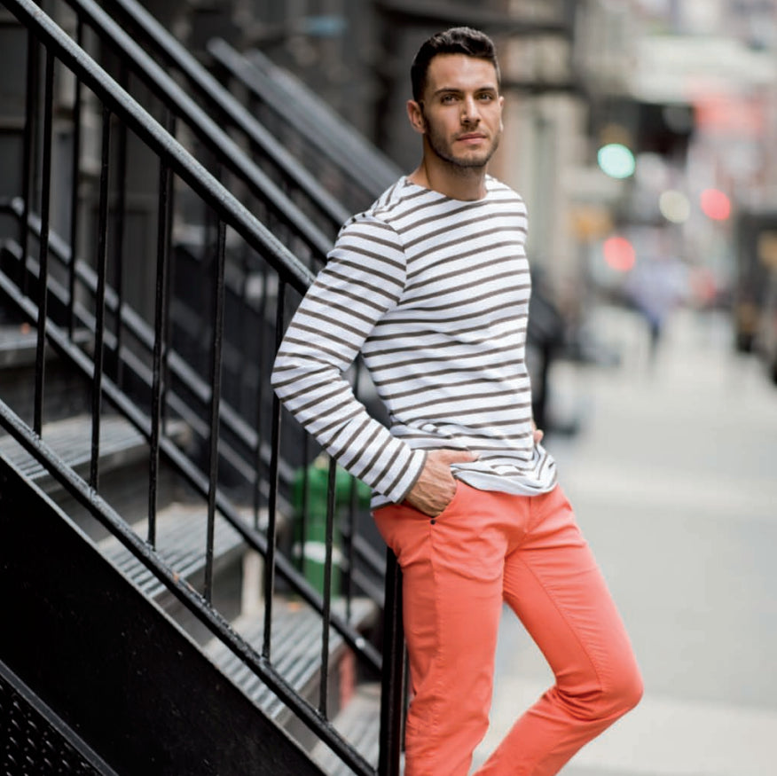 Men clothing - French stripes and orange pants - French man