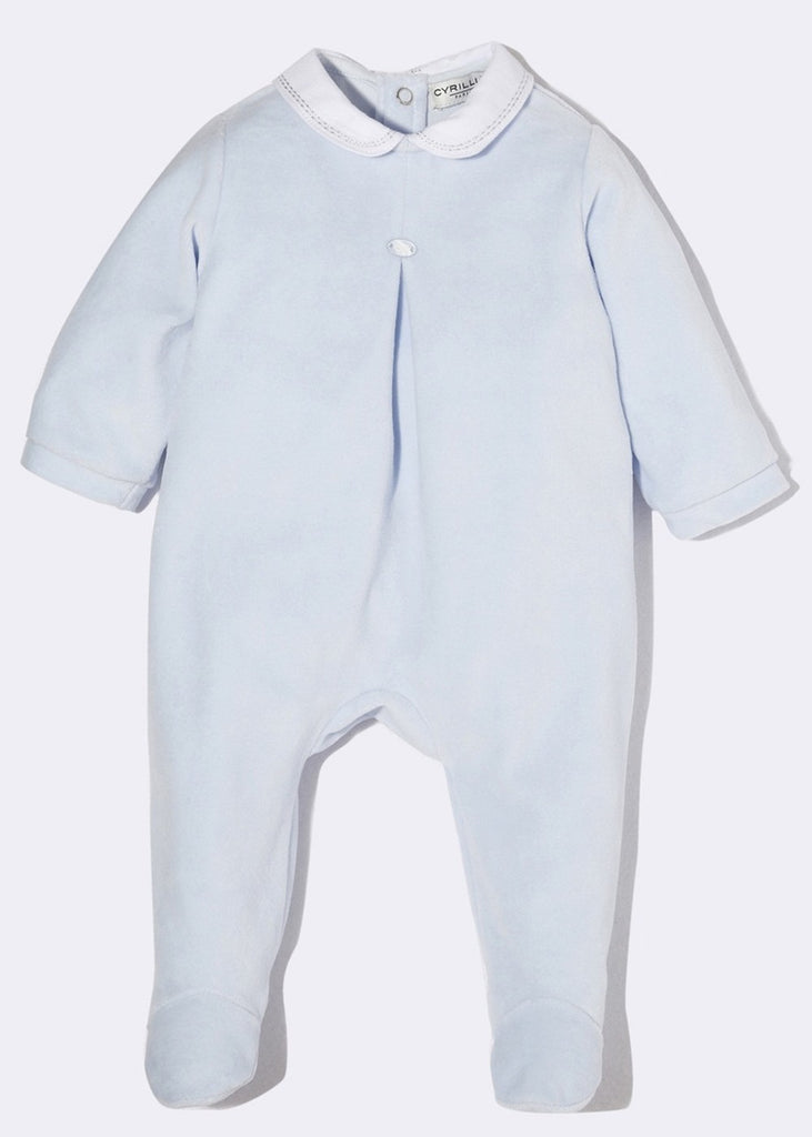 Baby Blue Velours Sleepsuit Cyrillus - 1 Month / Lightskyblue - Sleepsuit Cyrillus