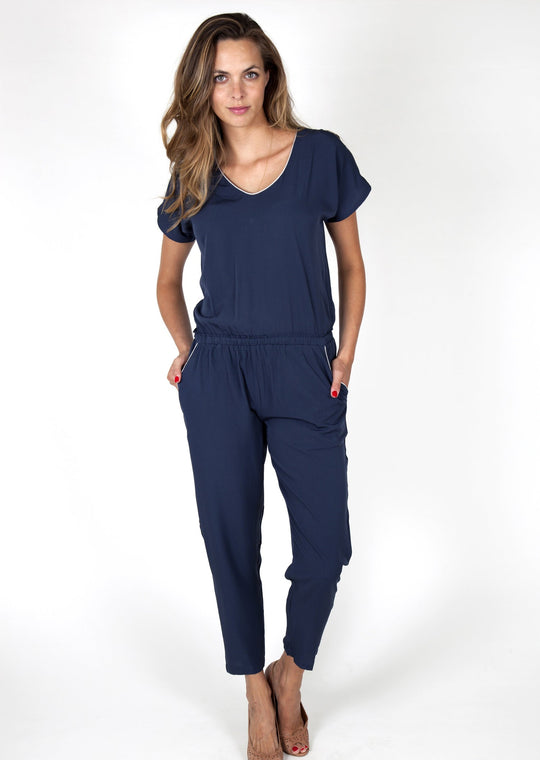 Eva Dark Blue Jumpsuit Capsule Collection By Juliette - M - Jumpsuits Capsule Collection By Juliette