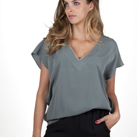 Stella Grey Top Capsule Collection By Juliette - Taupe / Free - Tops Capsule Collection By Juliette