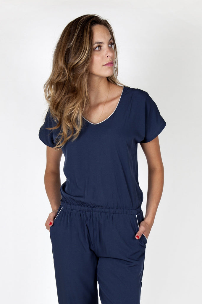 Eva Dark Blue Jumpsuit Capsule Collection By Juliette - Jumpsuits Capsule Collection By Juliette
