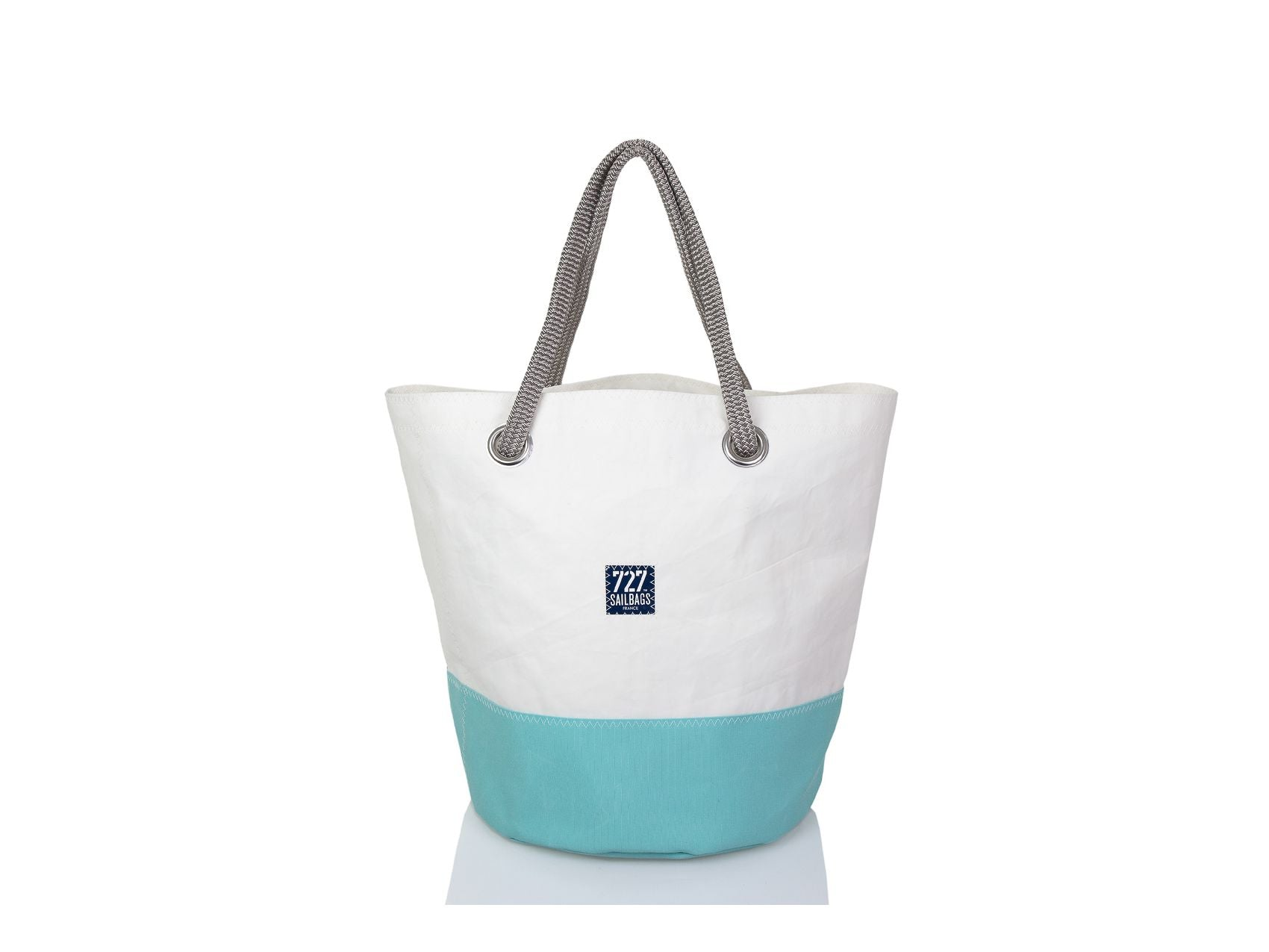 Grey Turquoise Recycled Sails Big Tote Bag, 727 Sailbags