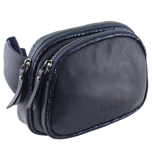 Clarysse Navy Leather Belt Bag, Lea Toni