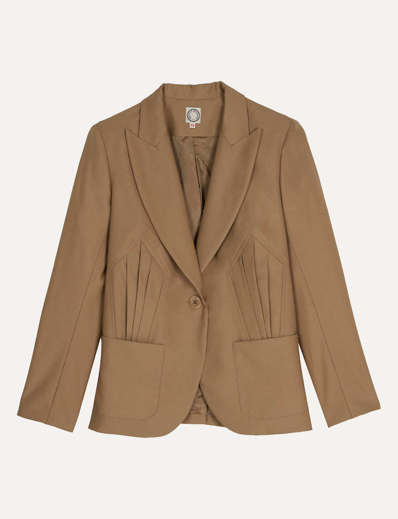 Sand wool jacket Slim fit - French design by Ines de la Fressange Paris
