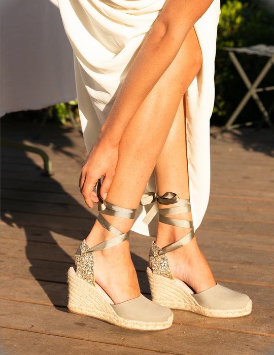 Grace Glitter Grey High Heels Espadrille, Escadrille Paris
