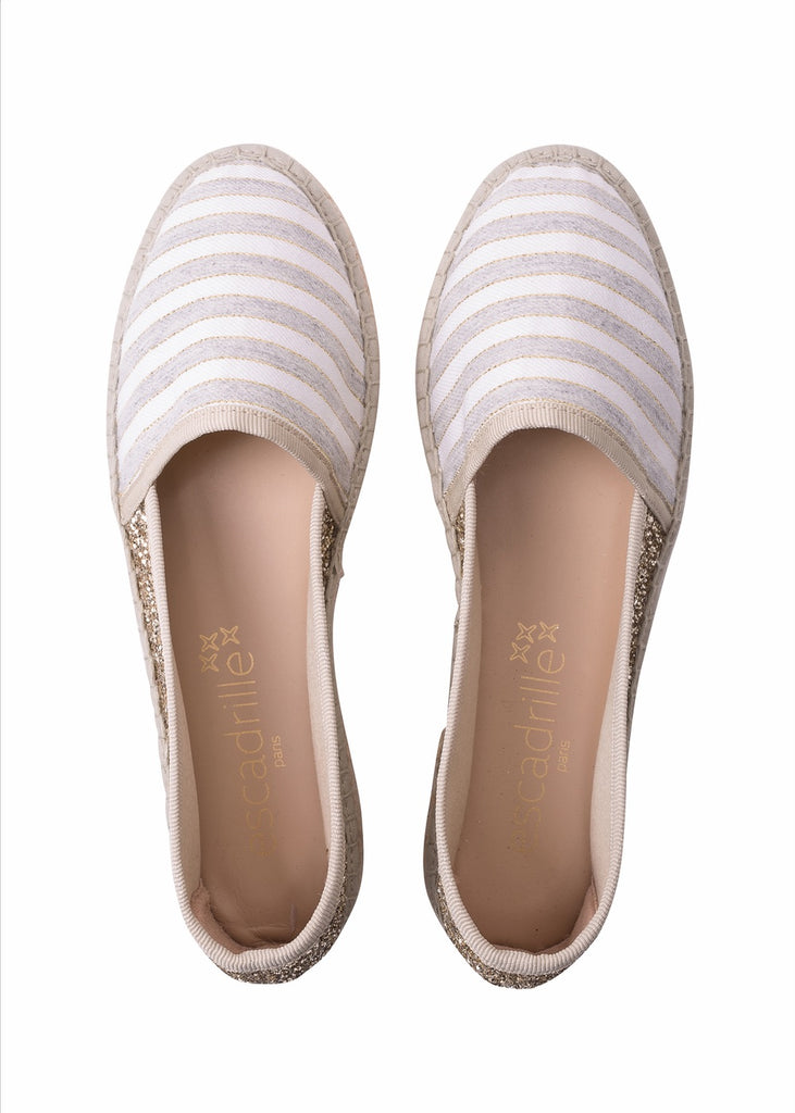 Grace Glitter Light Grey Stripped Espadrille, Escadrille Paris
