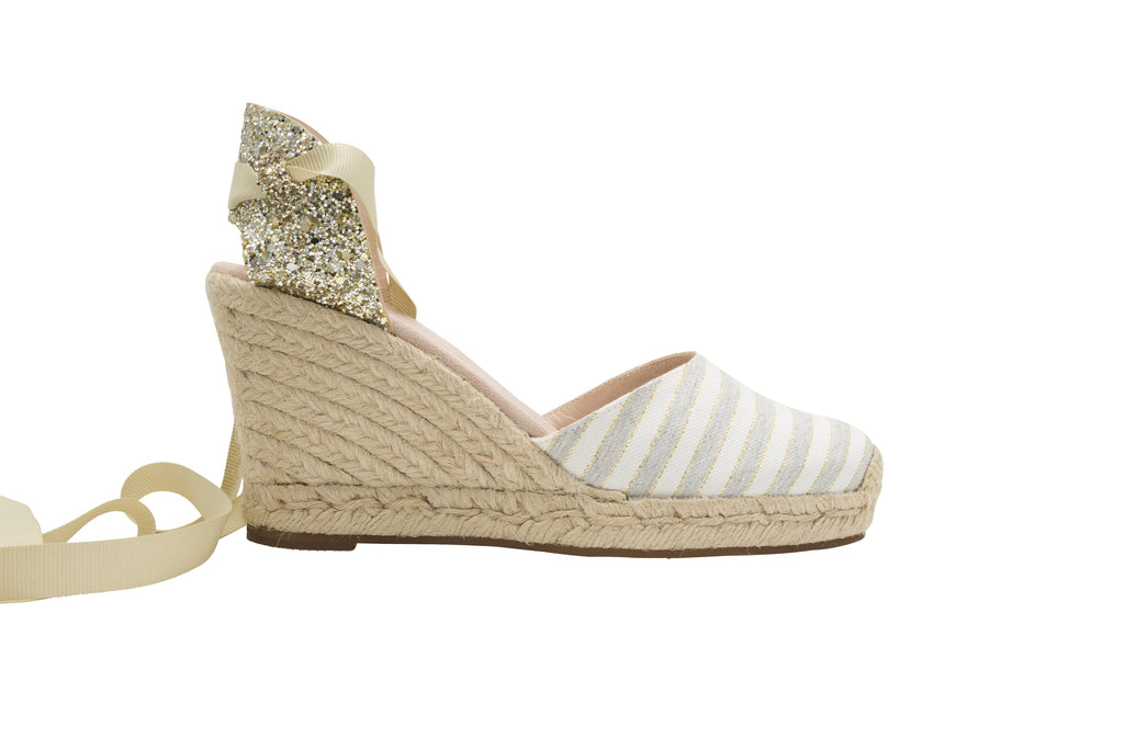 Grace Glitter Light Grey Stripped High Heels Espadrille, Escadrille Paris