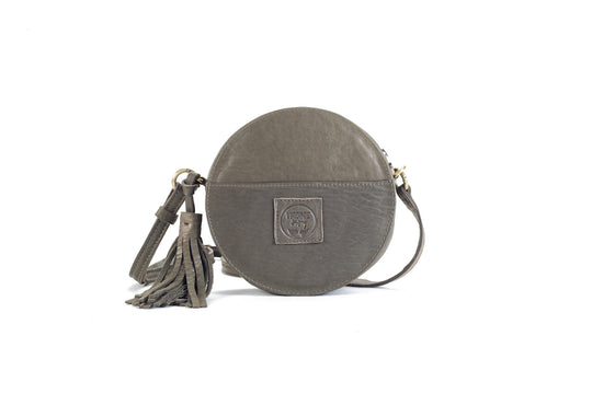 Darling Moon Kaki Leather Circle Bag Virginie Darling - Handbag Virginie Darling