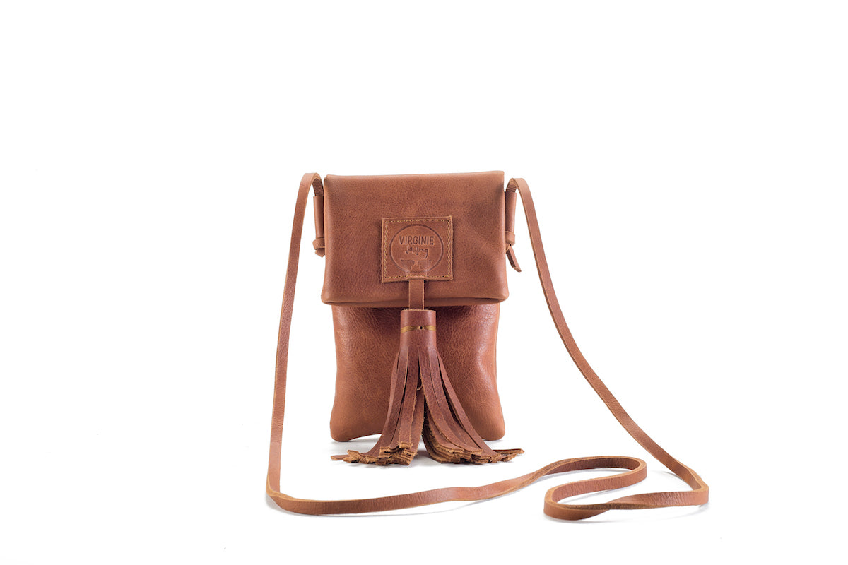 Zia Natural Brown Leather Bag Virginie Darling - Handbag Virginie Darling