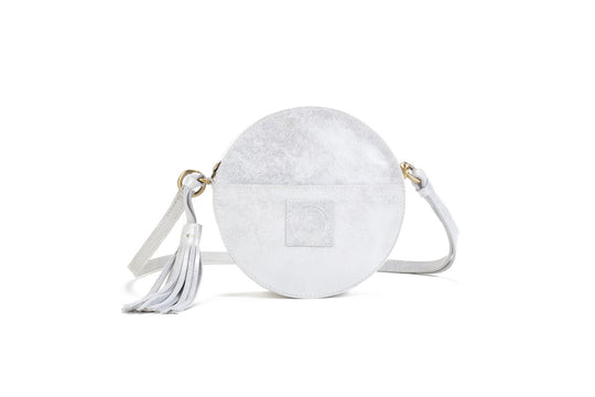 Darling Moon Silver Leather Circle Bag Virginie Darling - Handbag Virginie Darling