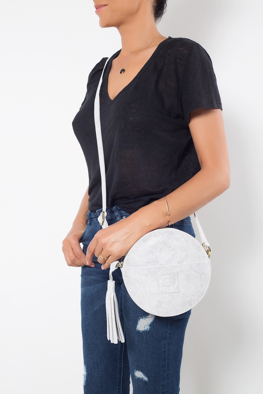 Darling Moon Silver Leather Circle Bag Virginie - Handbag