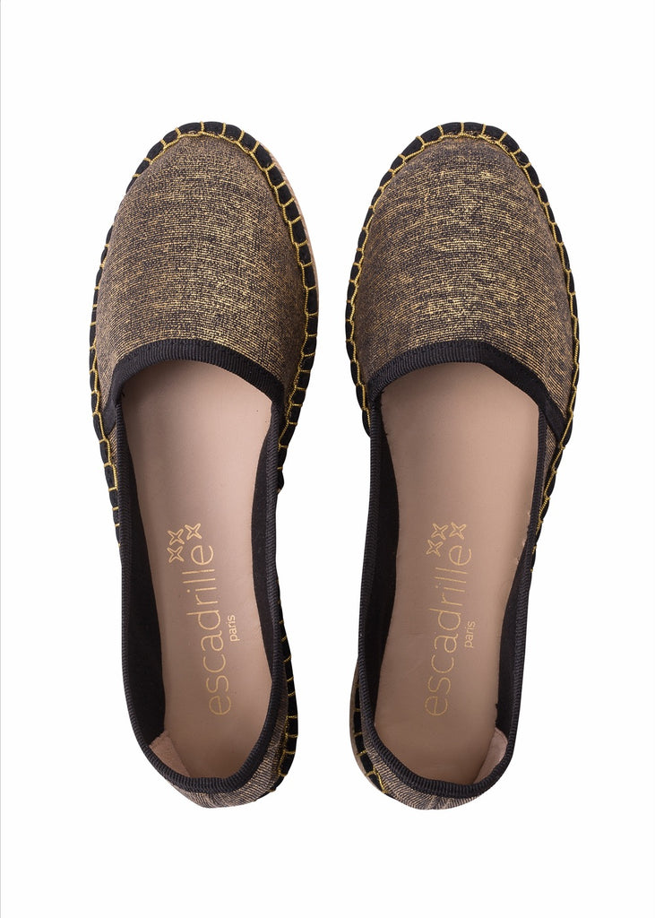 Vacances Romaines Gold and Black Espadrille, Escadrille Paris