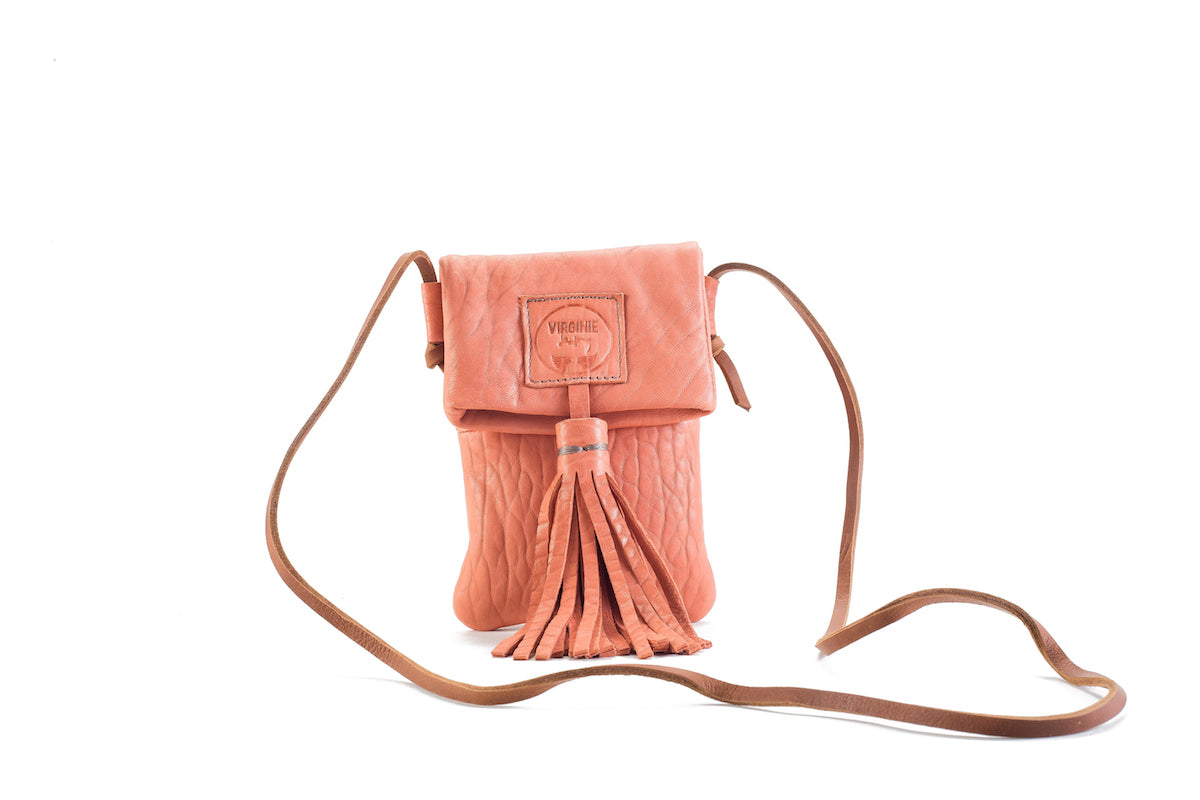 Zia Flamingo Leather Bag Virginie Darling - Handbag Virginie Darling