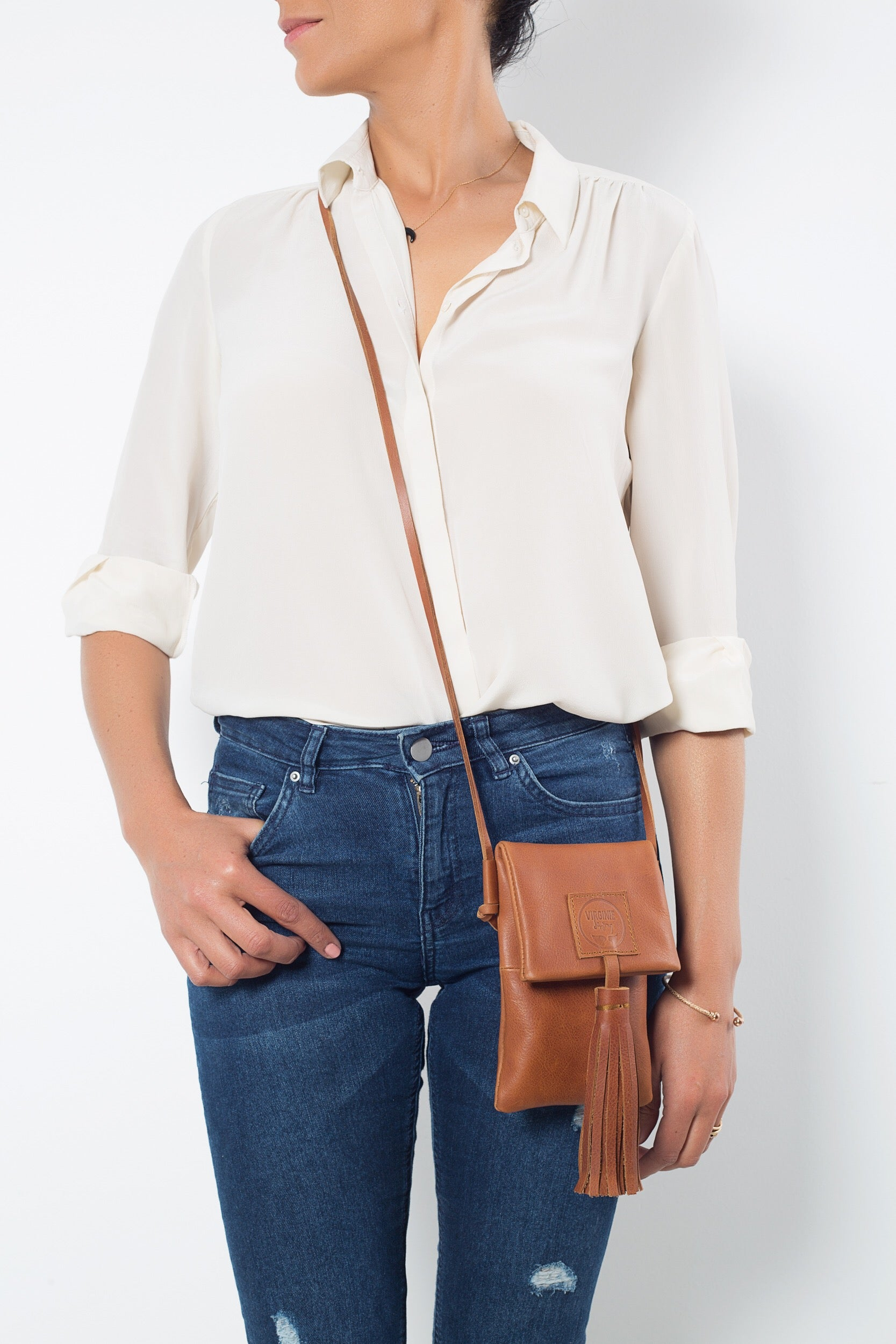 Zia Natural Brown Leather Bag Virginie Darling - Handbag