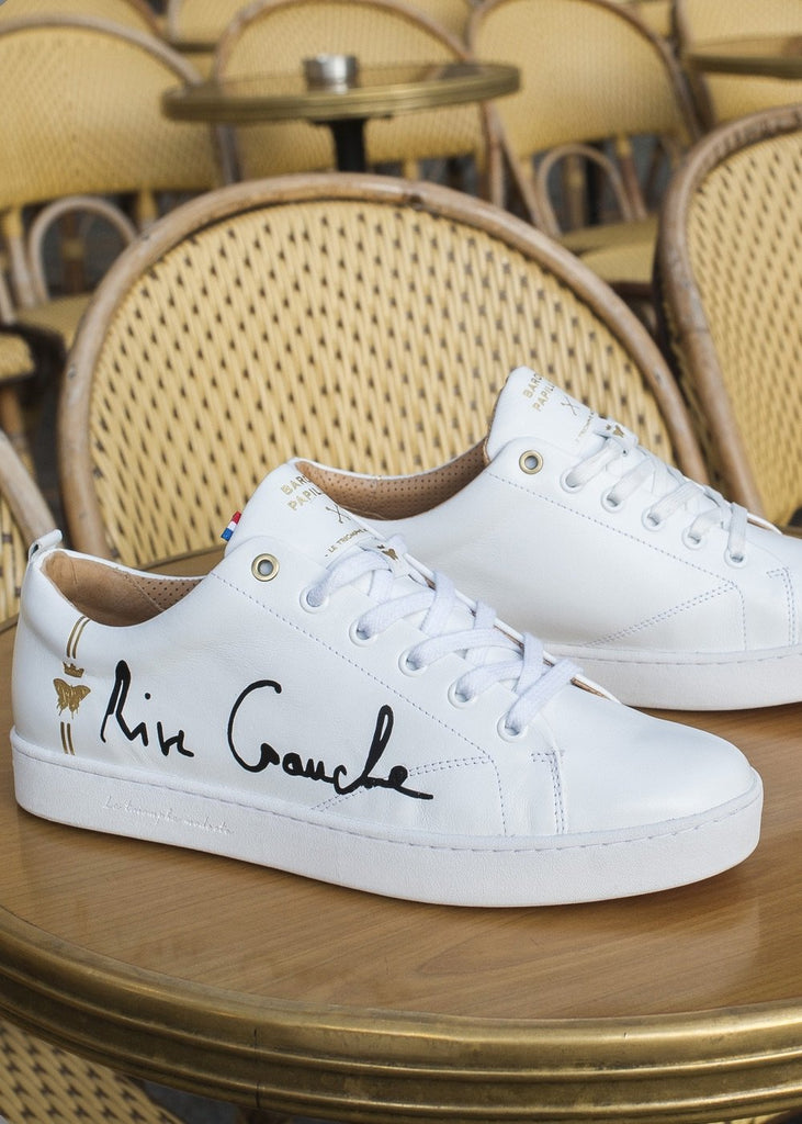 all white sneakers barons papillom rive gauche black signature