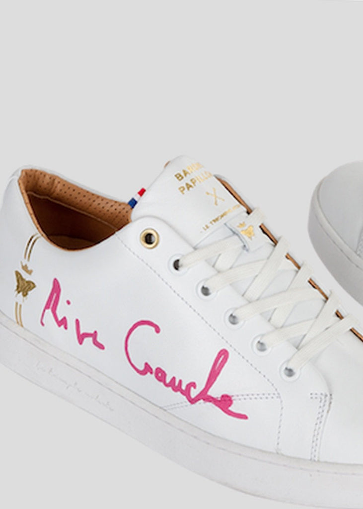 all white sneakers barons papillom rive gauche pink signature