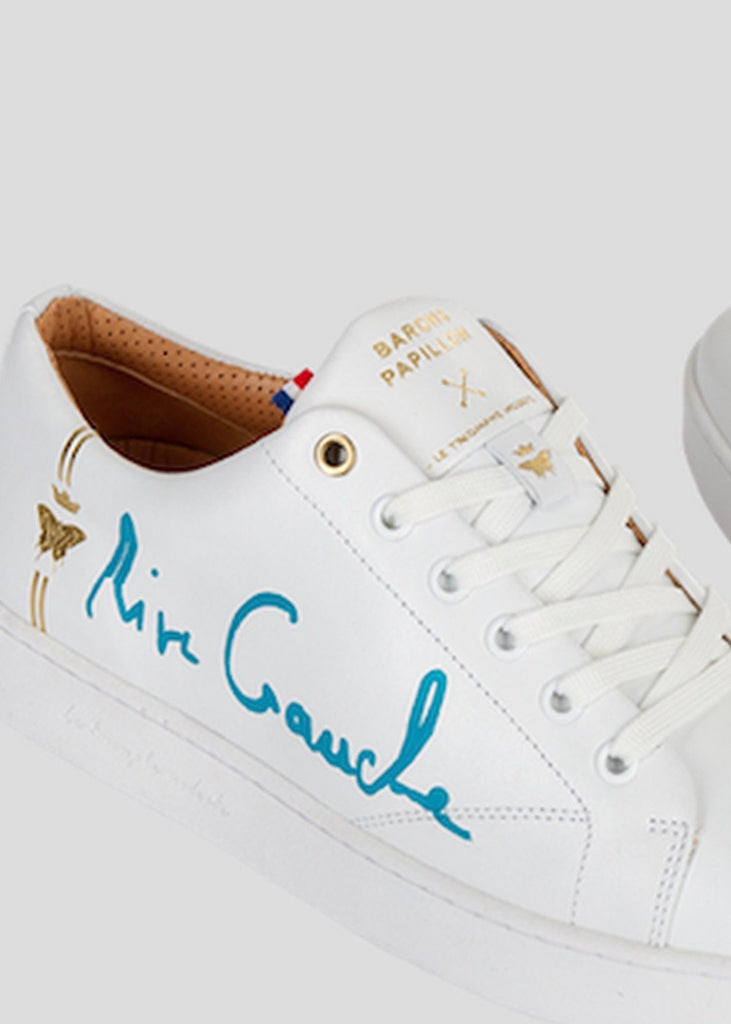 all white sneakers barons papillom rive gauche turquoise signature