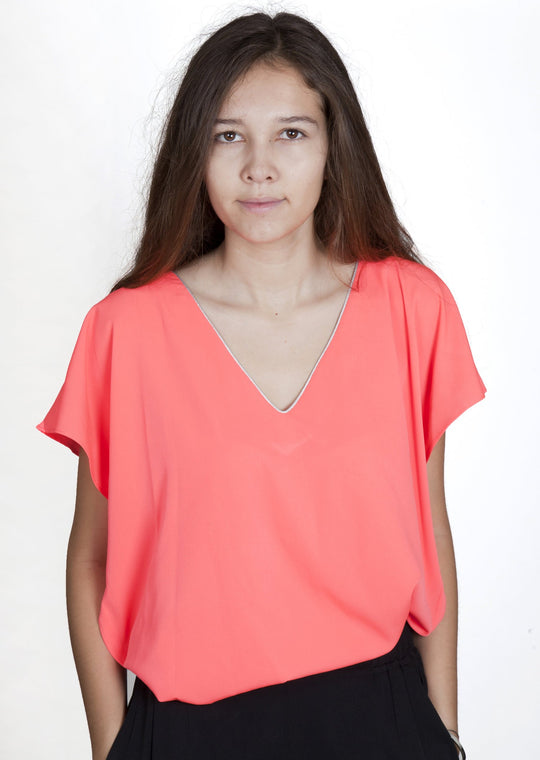 Stella Neon Orange Top Capsule Collection By Juliette - Lightcoral / Free - Tops Capsule Collection By Juliette
