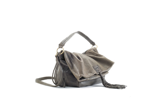 Baby Love Kaki Leather Handbag Virginie Darling - Handbag Virginie Darling