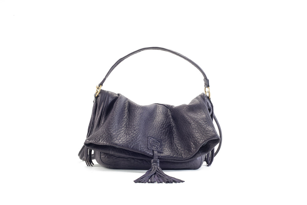 Baby Love Purple Leather Handbag Virginie Darling - Handbag Virginie Darling