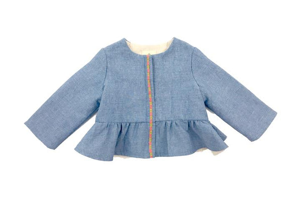 Girls Blue Ruffle Jacket, Maison Frida
