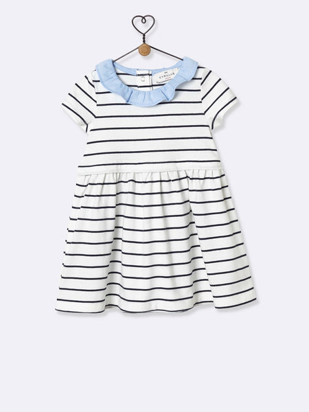 Babys Sailor-Stripe Blue-White Dress Cyrillus - T-Shirt Cyrillus