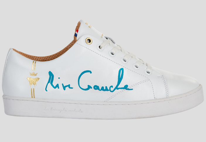 barons papillom all white sneakers rive gauche turquoise signature