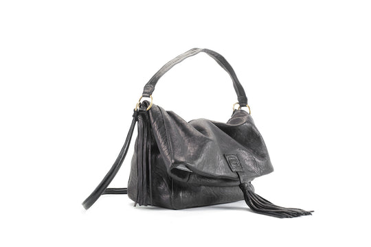 Baby Love Black Leather Handbag Virginie Darling - Handbag Virginie Darling