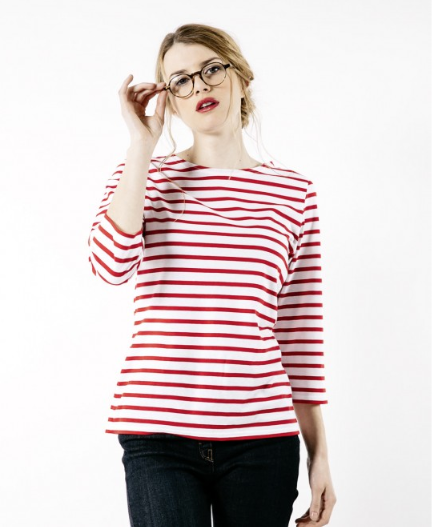 breton striped shirt with 3/4 sleeve saint james