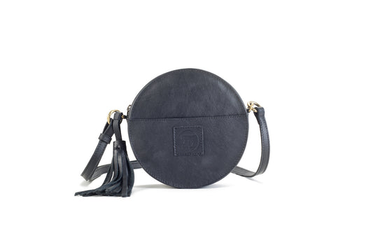 Darling Moon Black Leather Circle Bag Virginie Darling - Handbag Virginie Darling